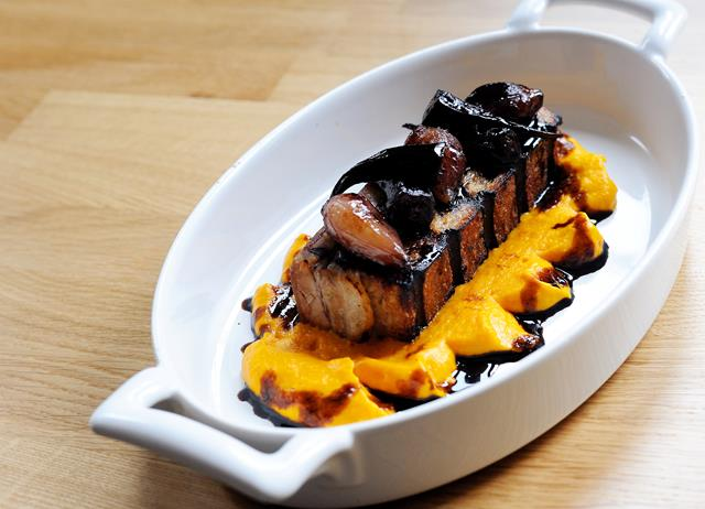 Roast pork belly with anise carrot purée and balsamic glazed carrots