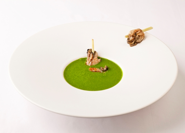 Chilled watercress and lettuce velouté with oysters