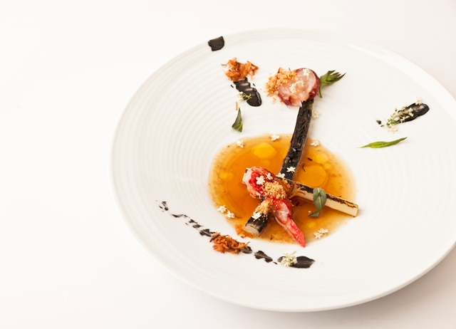 Cured lobster and charred leek with leek consommé