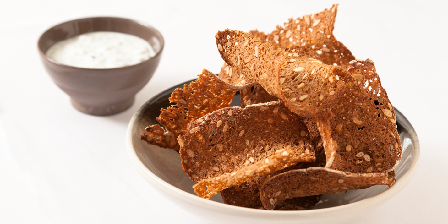 Barley dip with rye bread crisps