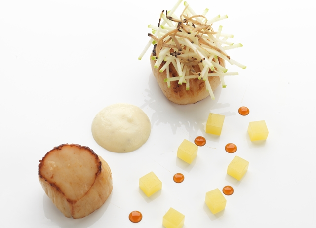 Hand-dived scallops with celeriac and truffle purée