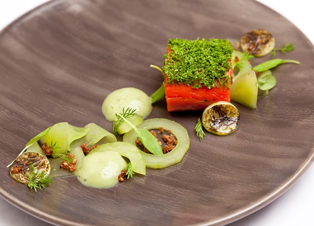 Gin-cured Alaska salmon with cucumber and wasabi emulsion