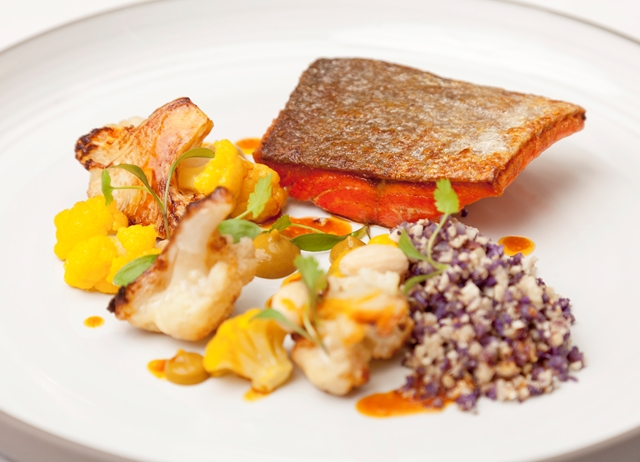 Alaska salmon, curried cauliflower, almonds, coriander