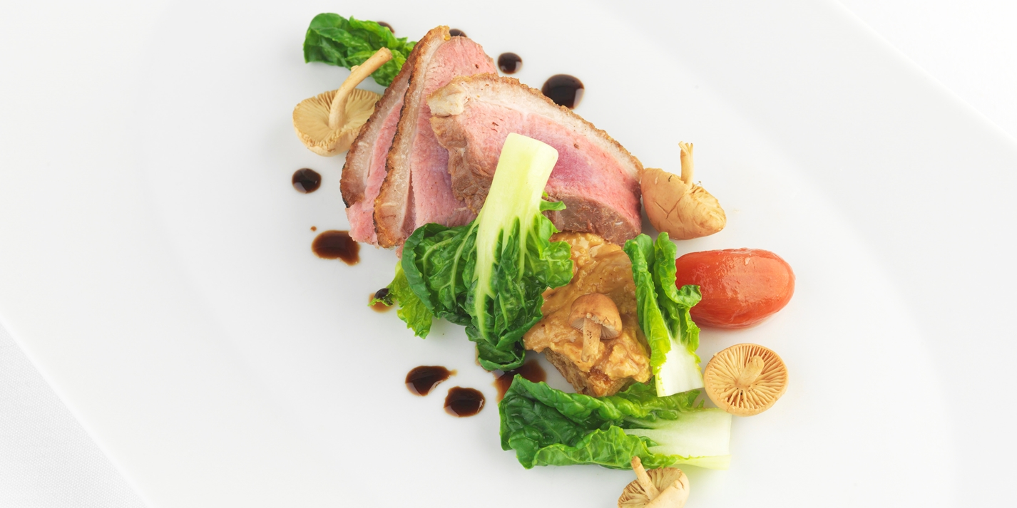 Duck with peanut and tamarind flapjack