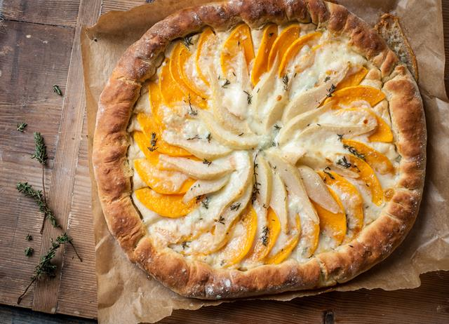 Butternut squash, pear and gorgonzola flatbread tart
