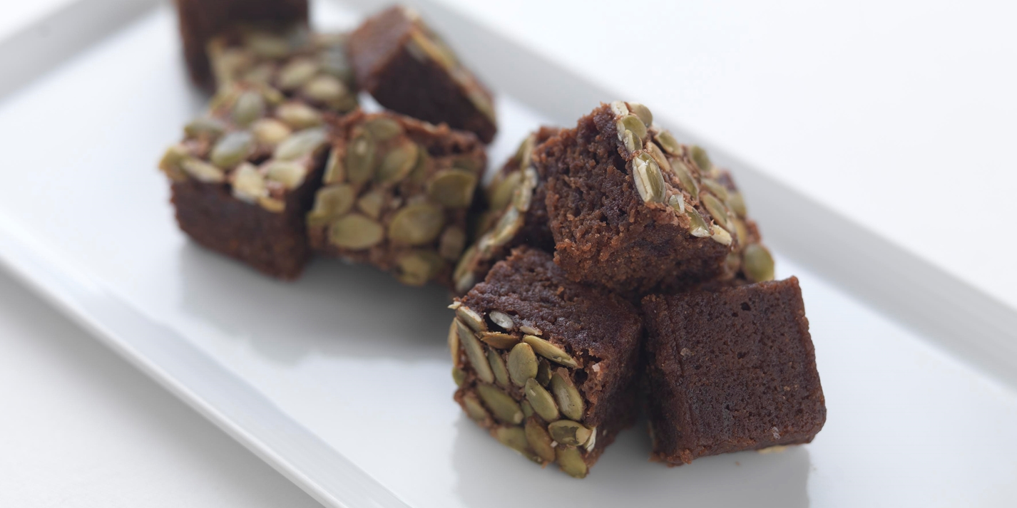 Dark chocolate and pumpkin seed brownies