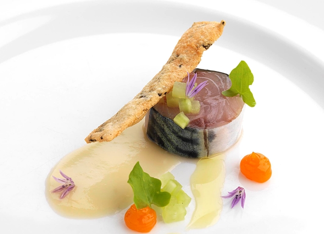 Mackerel with seaweed cracker