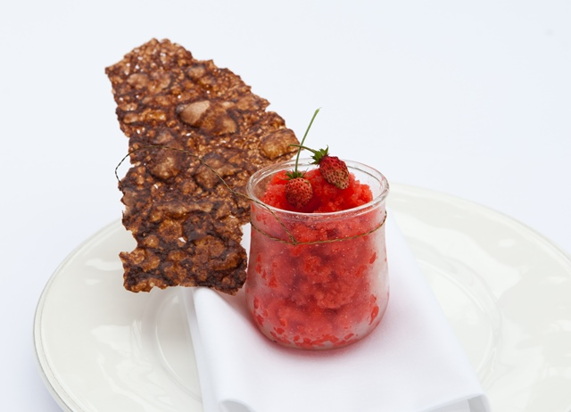 English strawberry granita with arabesque wafer