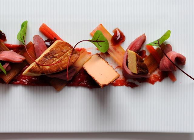 Foie gras with rhubarb and duck breast