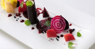 Goat's cheese, roasted beetroot and a black olive tuile