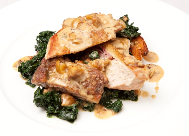 Gorgonzola-stuffed guinea fowl with cavolo nero and chestnuts