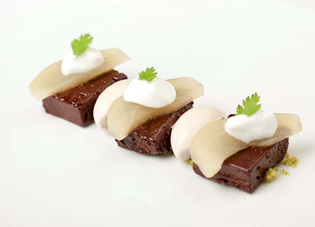Chocolate with coriander and poached pear