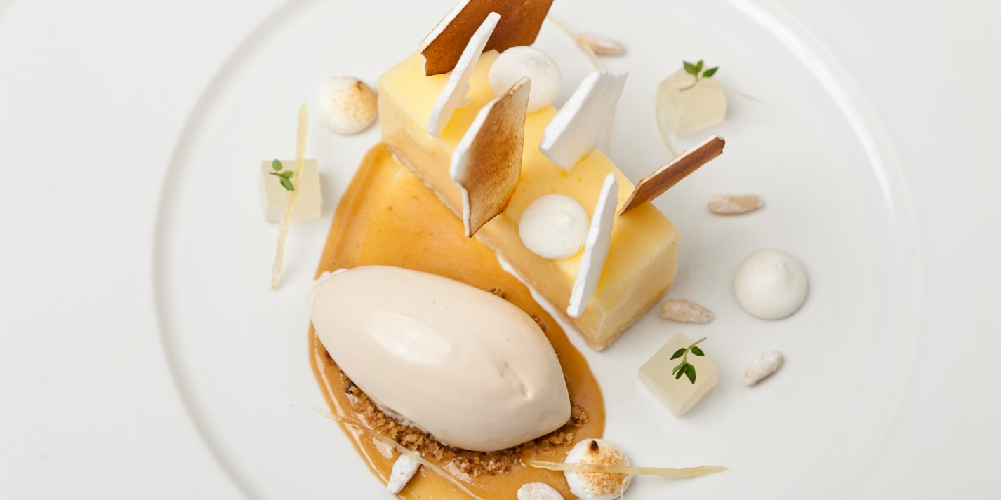 Lemon meringue pie with pine nut ice cream