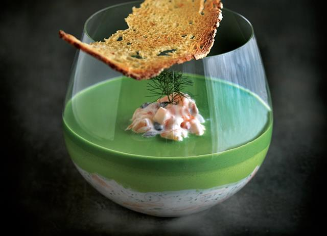 Potted salmon with cucumber, crème fraîche and watercress