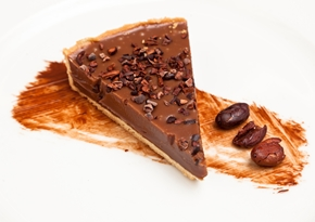 Sea-salted caramel tart with Javanese milk chocolate