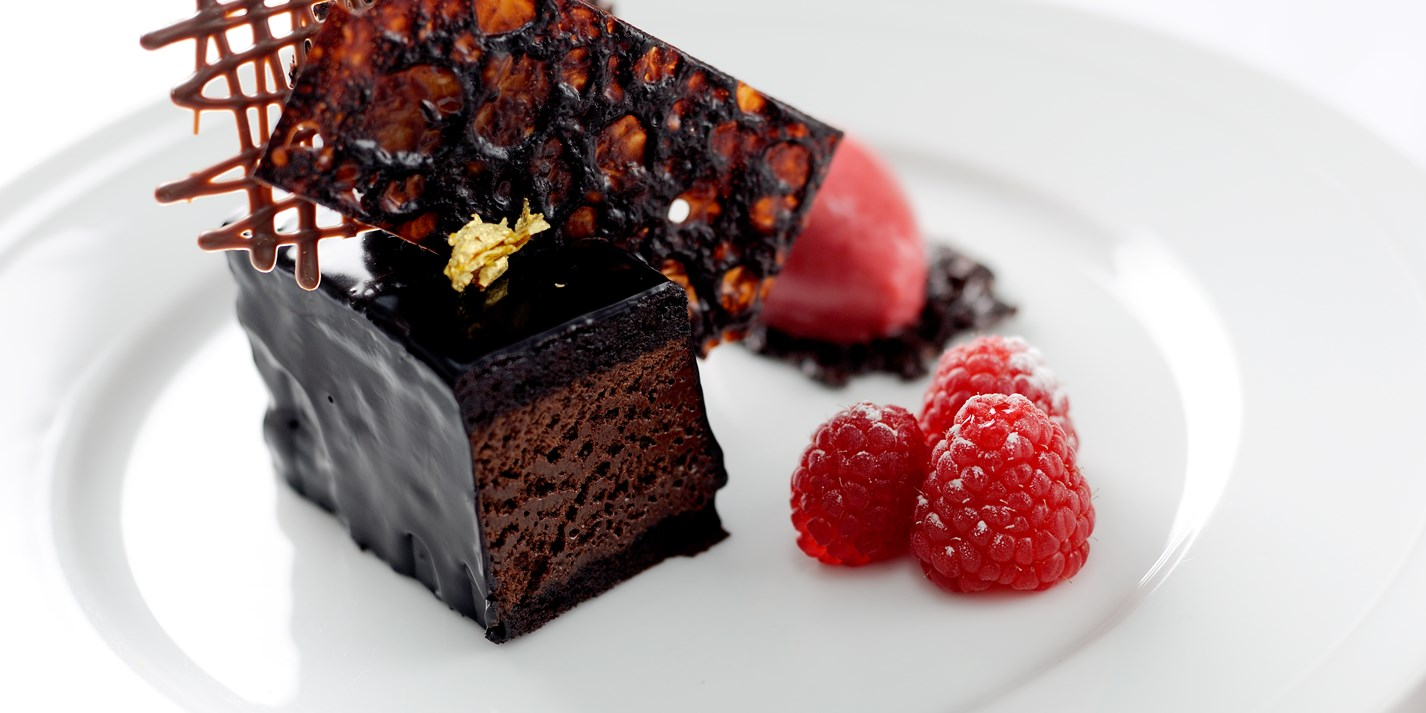 Chocolate Mousse Cake With Raspberry Sorbet - Great British Chefs
