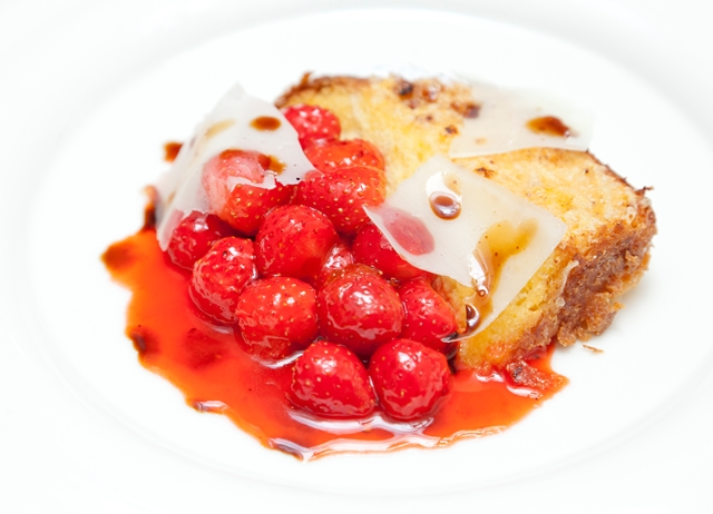 Pain perdu with roasted strawberries, aged balsamic and Parmesan