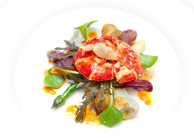 Warm salad of lobster with black truffle oil