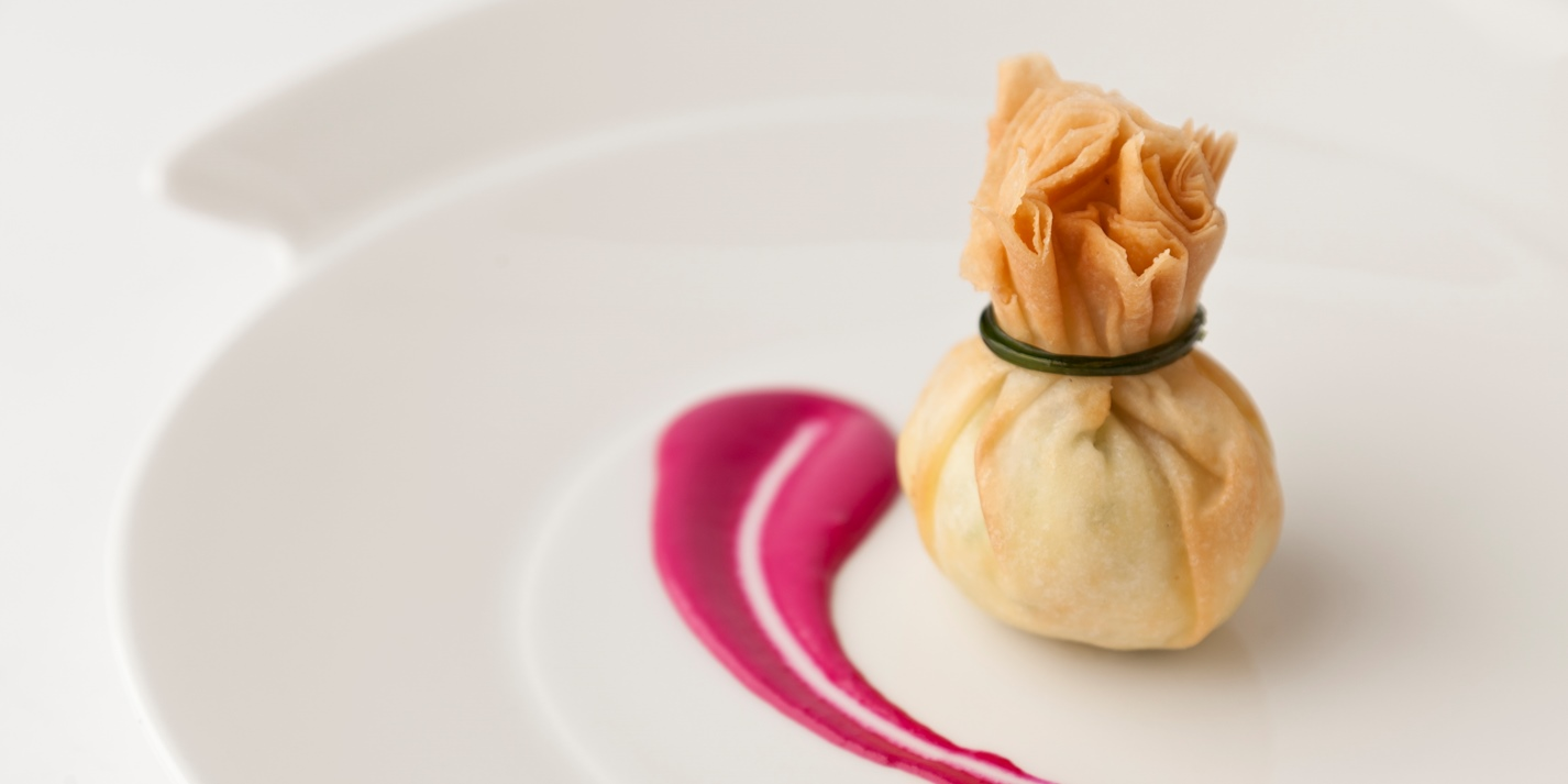 Turkey pine nut potli with beetroot mayonnaise