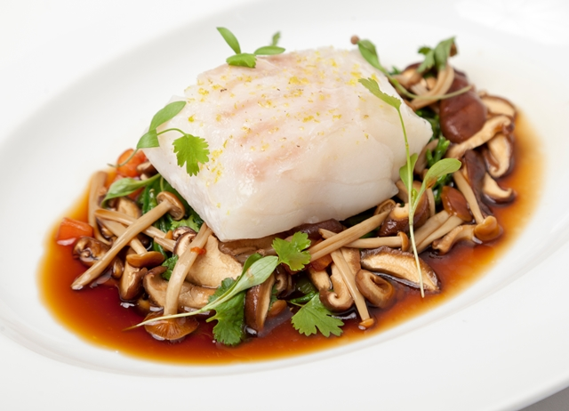 Poached cod with an Asian broth