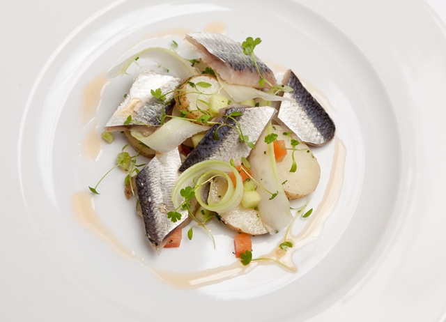 Soused herring with heritage potato, celery salad and bloody Mary sauce