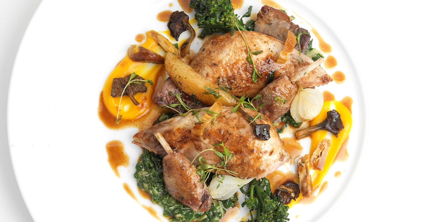 Partridge with Swiss chard, chanterelles, quince and chestnuts