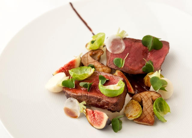 Venison, chocolate, fig, turnip and Brussels sprouts