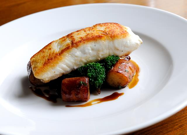 Pan-fried halibut with wild mushrooms and gnocchi