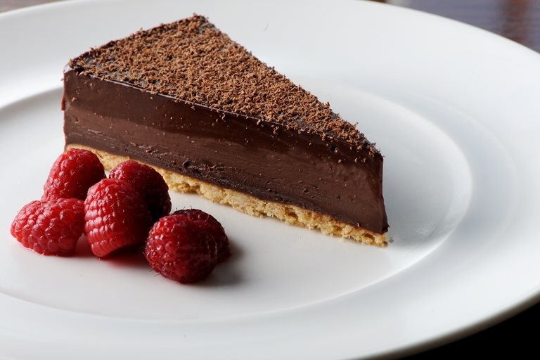 BBC Food - Recipes - Chocolate tart with white chocolate sauce