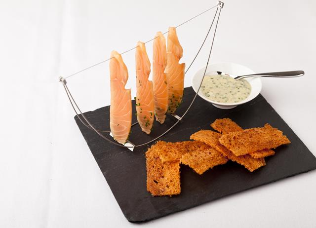 Marinated salmon, oyster mayonnaise and croutons