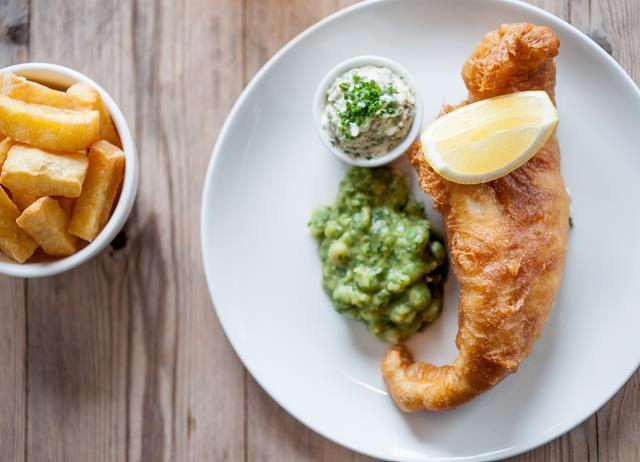 Fish chips and mushy peas recipe great british chefs for Fish chips recipe