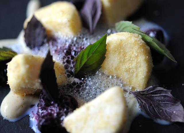 Goat's curd parfait, blueberries and purple basil