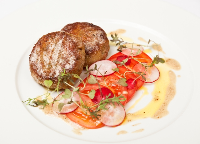 Crisp shrimp risotto cakes with tomato and radish salad