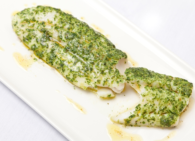 Whiting with melting herb crust