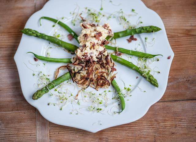 Potato and celeriac spider with bacon and egg mayonnaise