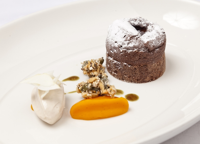 Dark chocolate fondant with chestnut and squash
