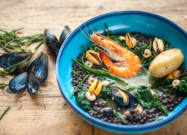 Seafood stew with mussels and shrimp
