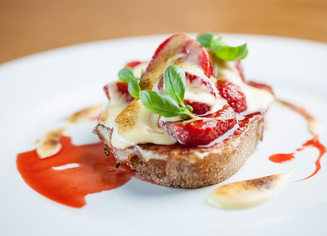 Eggy bread with pan-roast Sweet Eve strawberries and elderflower sabayon