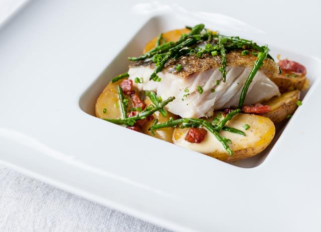 Pan-roast cod with confit Jersey Royals, pancetta, samphire and lemon