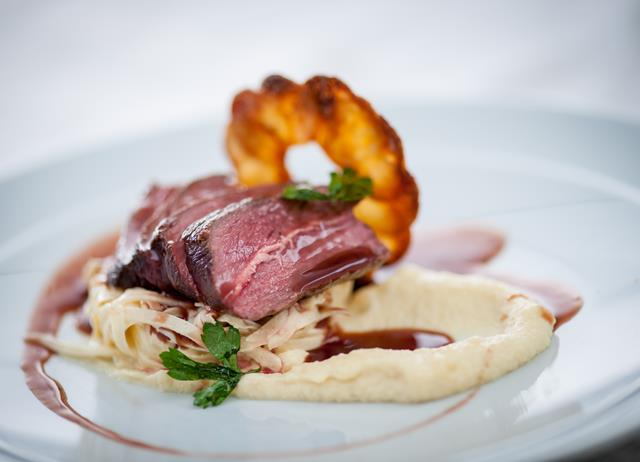 Venison loin with celeriac remoulade, pomme Maxine and juniper jus