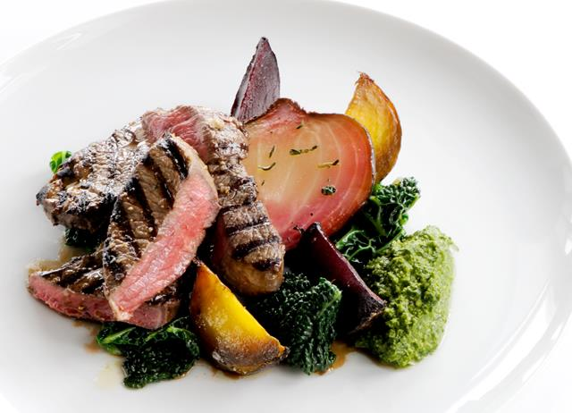 Chargrilled leg of lamb with salsa verde and roasted beetroot