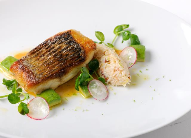 Pan fried sea bass fillet with white crab salad great for Turkish sea bass recipe