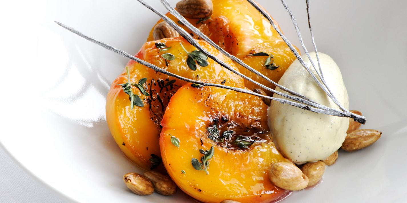 Roast Peaches Recipe With Vanilla Ice Cream - Great British Chefs
