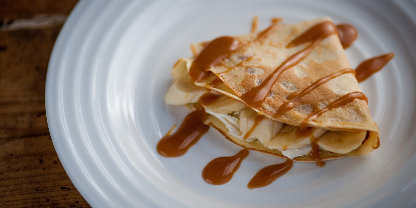 Banana and toffee pancakes