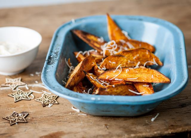 Sweet potato chips with mango crème fraîche and Parmesan snow