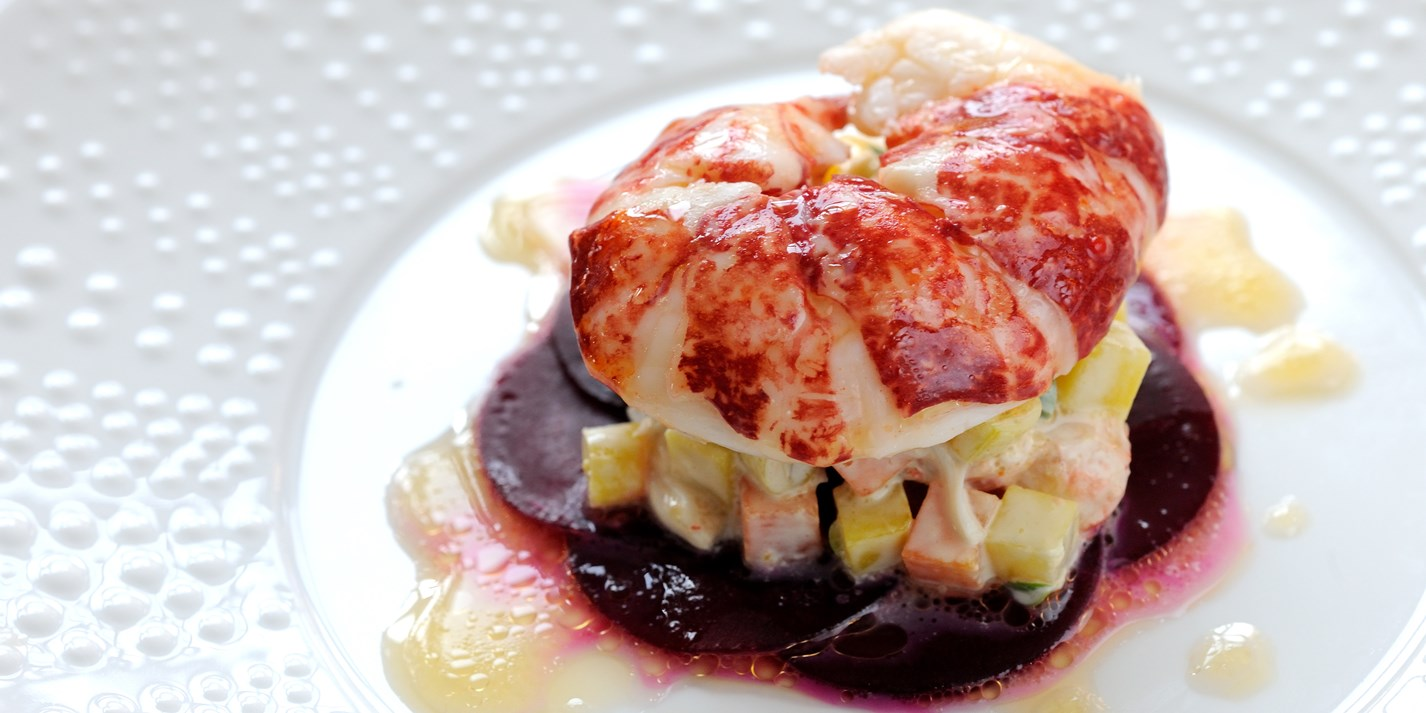 Butter poached Isle of Wight lobster with garden beetroot and Russian salad