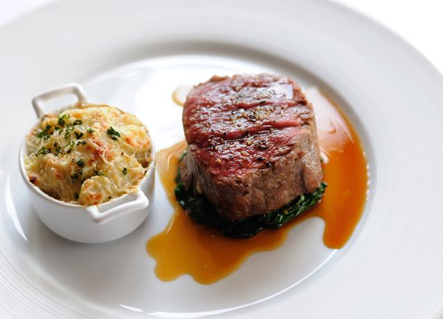 Hatchet Herd Dexter beef with Jerusalem artichoke gratin
