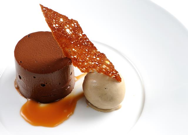 Dark chocolate delice with coffee ice cream