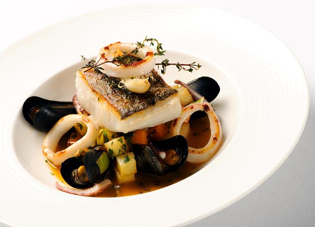 Cornish salt pollock, squid and mussel stew