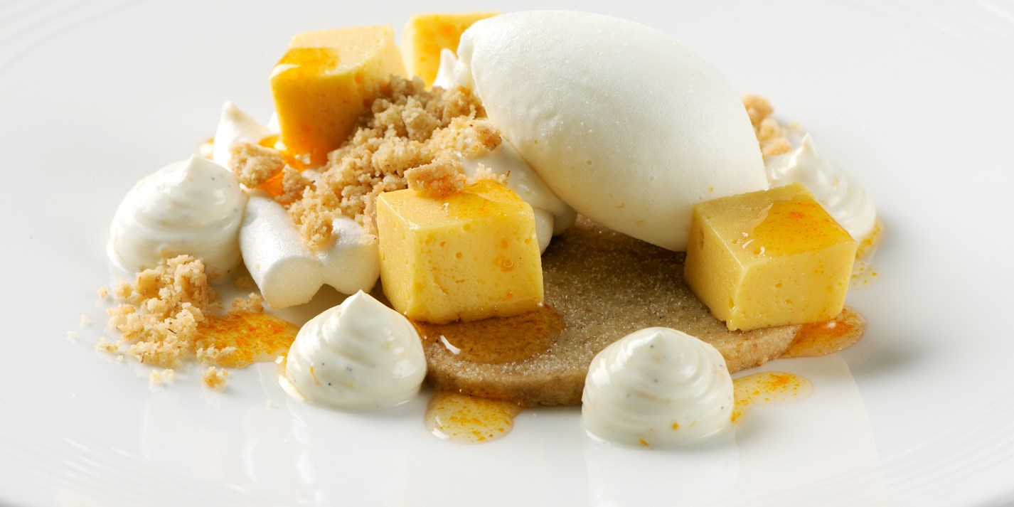 Sea buckthorn curd meringue with yoghurt sorbet and wholemeal shortbread